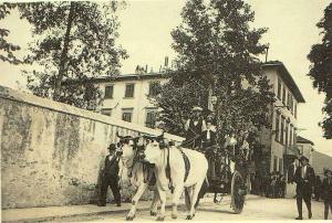 1933-10-08 Festa dell'Uva, il carro inghindarlato di Pampanone si avvia per raggiungere gli altri per la sfilata, alla guida Angiolino Foni, il ragazzo accanto a lui è il figlio Giuseppe.