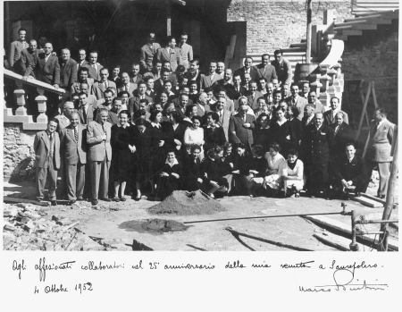 Il Sor Marco Buitoni nel 1952, celebra i 25 anni della sua venuta a Sansepolcro.