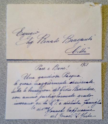 bigliettino di ringraziamento delle monache di Santa Marta