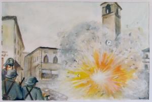 luglio 1944 la Torre di Berta di Sansepolcro salta in aria, opera di Baldino Mariucci