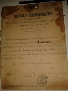 attestato per la medaglia commemorativa 1867
